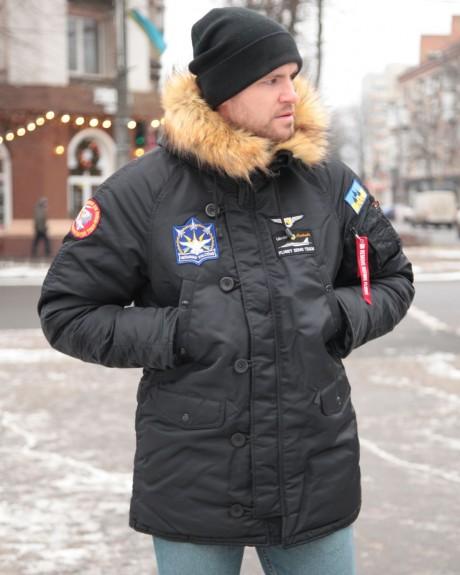 Аляска N-3B з нашивками «Українські Соколи». Чорна, 100% Нейлон