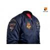 Бомбер MA-1 Old School: Navy Blue, з нашивками 831 БрТА