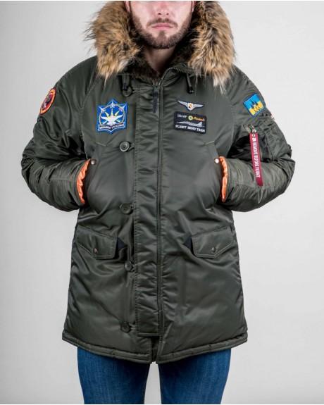 Аляска N-3B з нашивками «Українські Соколи». Хакі, 100% Нейлон